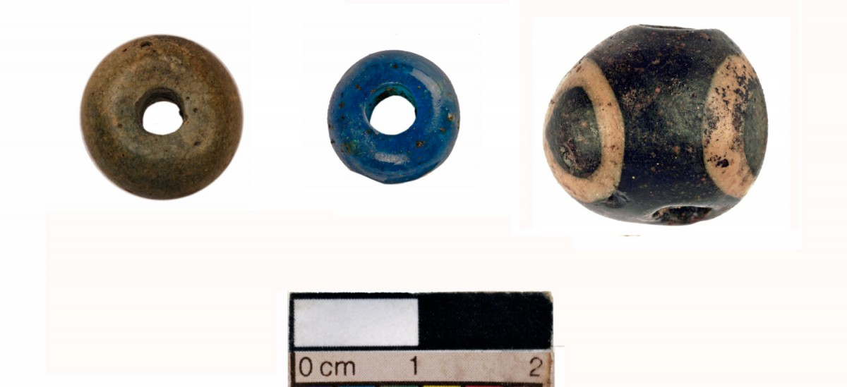 East Anglian Fens: Glass beads thought to have been from a necklace.