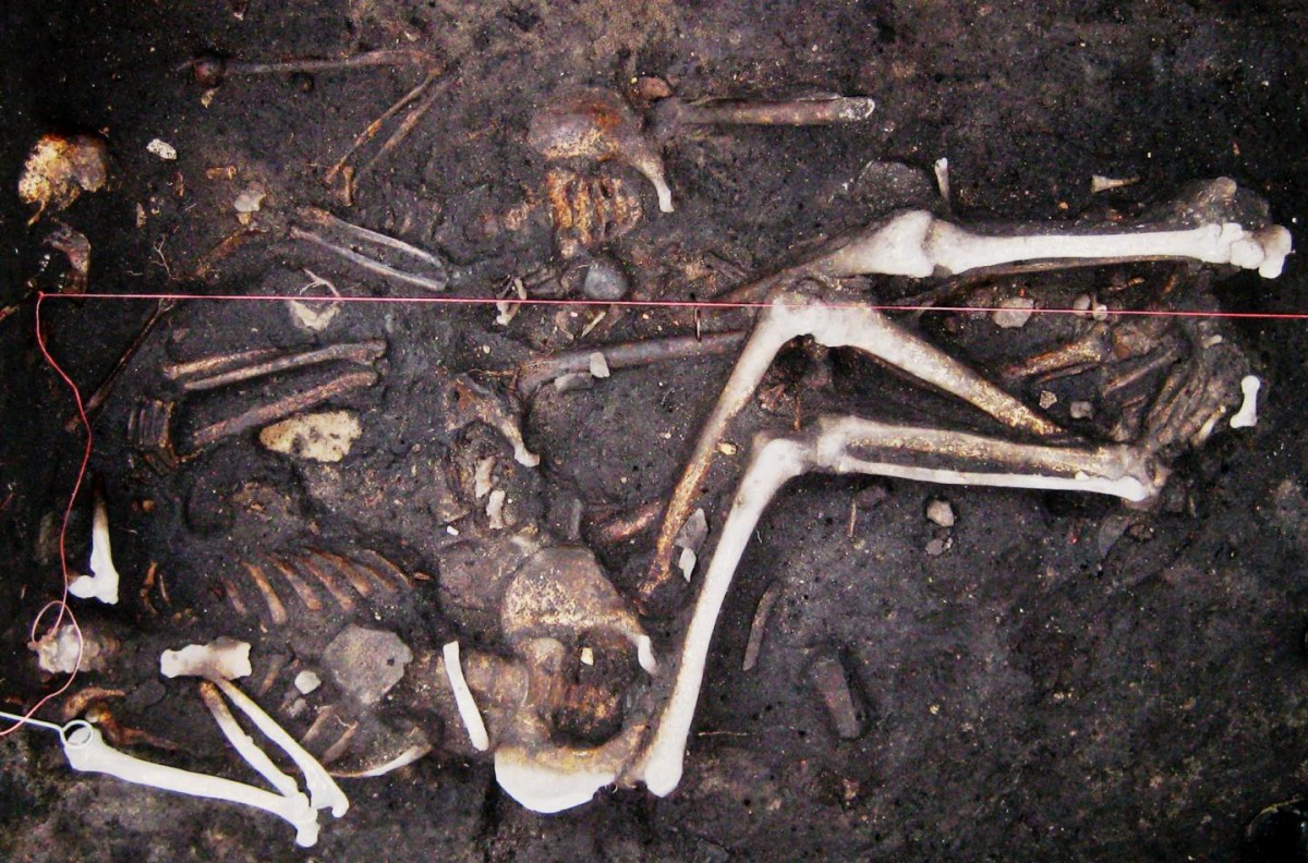 A sample: Original photograph of the triple-inhumation regarding the three male soldiers (Brandenburg, Germany), is dated to the Thirty Years' War (1618-1648). Credit: Seifert et al.