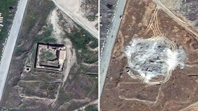 Satellite images showing the site of St Elijah's Monastery in March 2011 and September 2014.