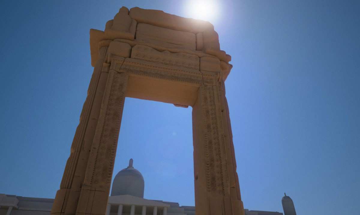 A 3D-printed replica of the Arch of Palmyra will appear in London's Trafalgar Square in April. Image Credit: Institute for Digital Archaeology.