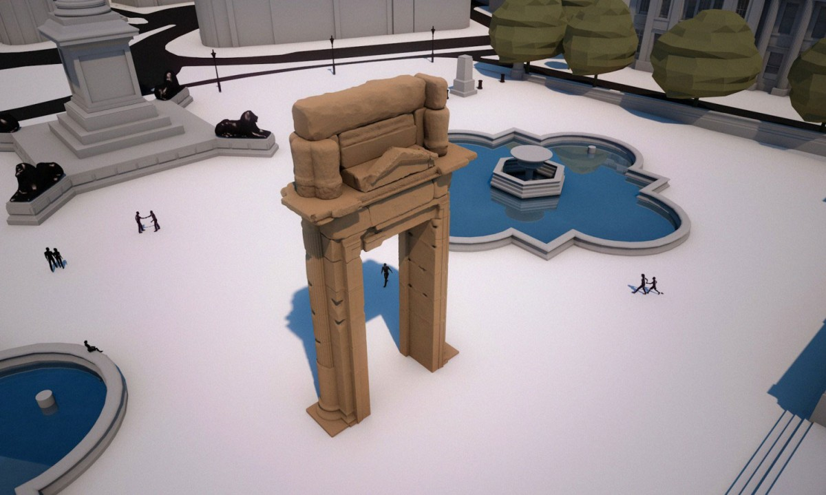 It is a technological feat to install a 3D printed arch in the centre of London. Image Credit: Institute for Digital Archaeology/Washington Post.