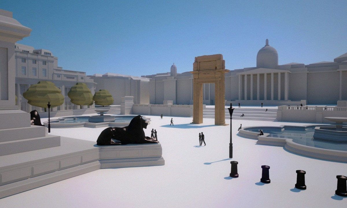 An artist rendering the arch of Palmyra in the centre of London: Image Credit: Institute for Digital Archaeology/Washington Post.
