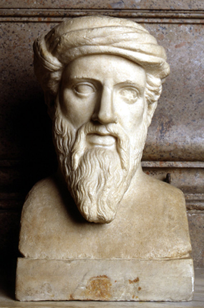 """Herm depicting """"Pythagoras"""". From a Greek original of the middle of the 5th c. BC.    Musei Capitolini."""