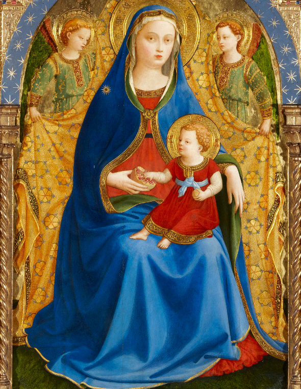 Guido di Pietro, known as Fra Angelico (Mugello, 1390 - Rome, 1455), The Virgin and Child with two Angels or The Virgin of the Pomegranate, c.1426. Tempera on panel, 83 x 59 cm.