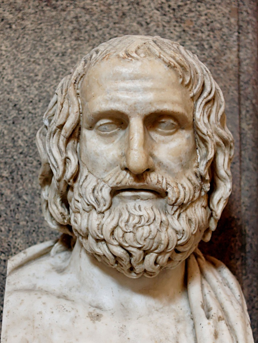 Bust of Euripides. Marble, Roman copy after a Greek original from ca. 330 BC.