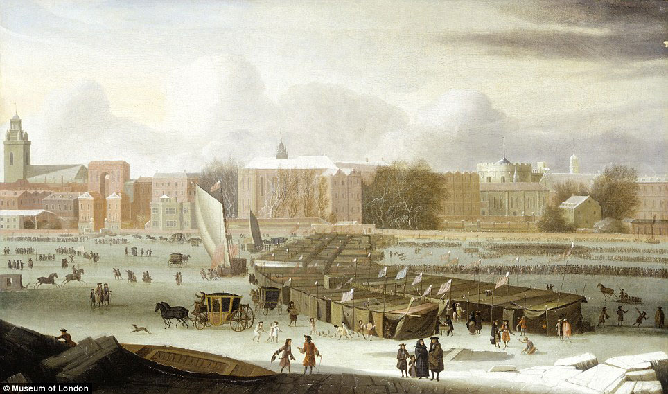 Winters of old: This 1684 oil on canvas painting called 'A Frost Fair on the Thames at Temple Stairs' by Abraham Hondius shows booths, coaches, sledges, sedan-chairs and groups of people.