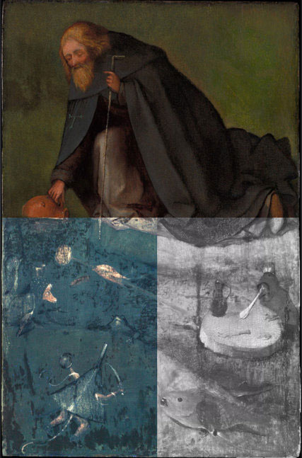 A composite image showing different layers of The Temptation of St. Anthony. Image Credit: The Bosch research and Conservation Project/New York Times.