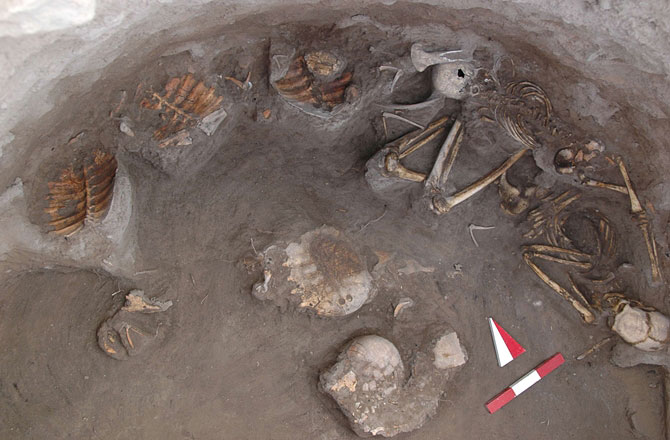 This image shows the skeletons with the turtle remains. Photo Credit: KAVUSAN HOYUK ARCHAEOLOGICAL PROJECT