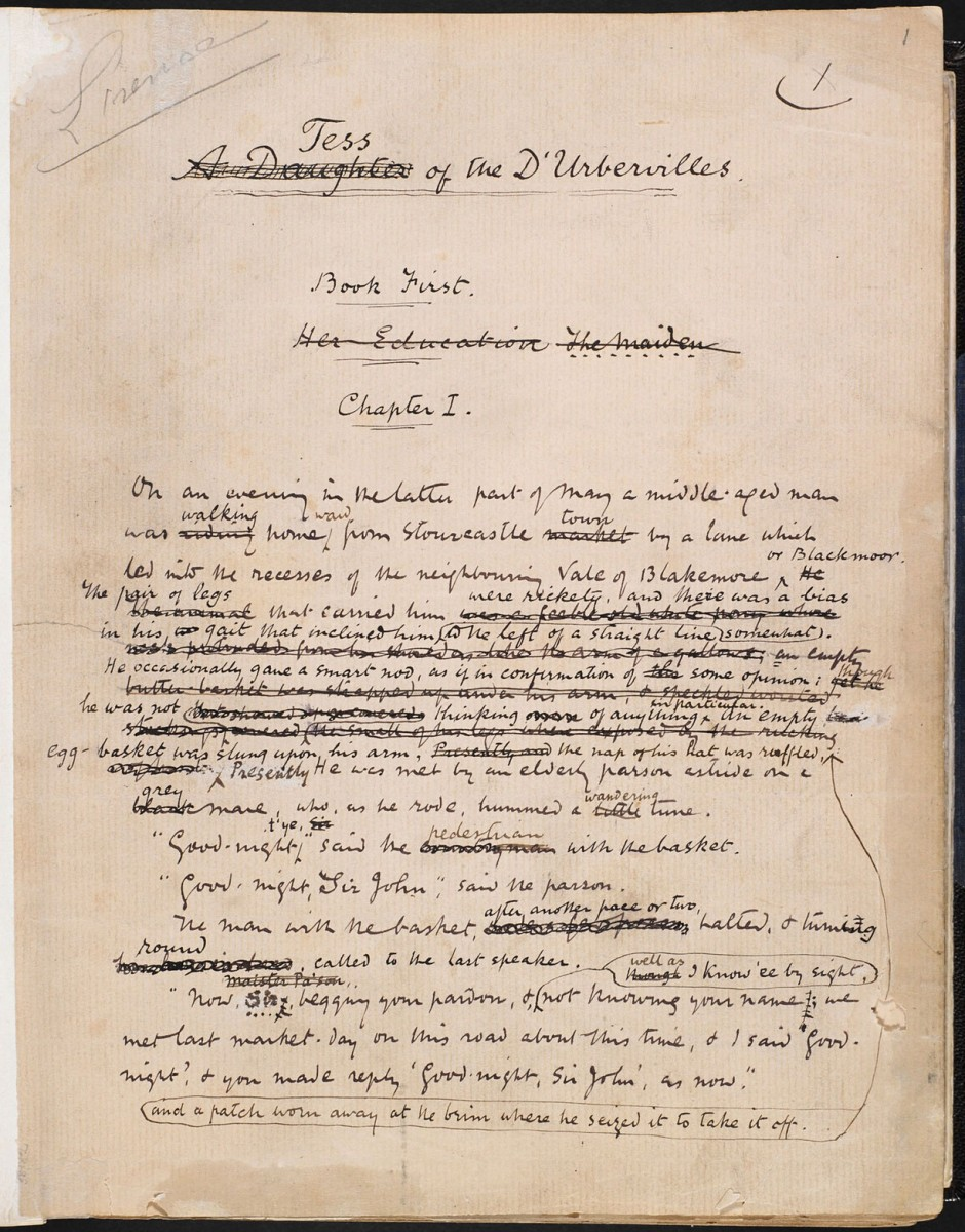Thomas Hardy's manuscript for Tess of the d'Urbervilles. Photo Credit: The British Library/The Guardian.
