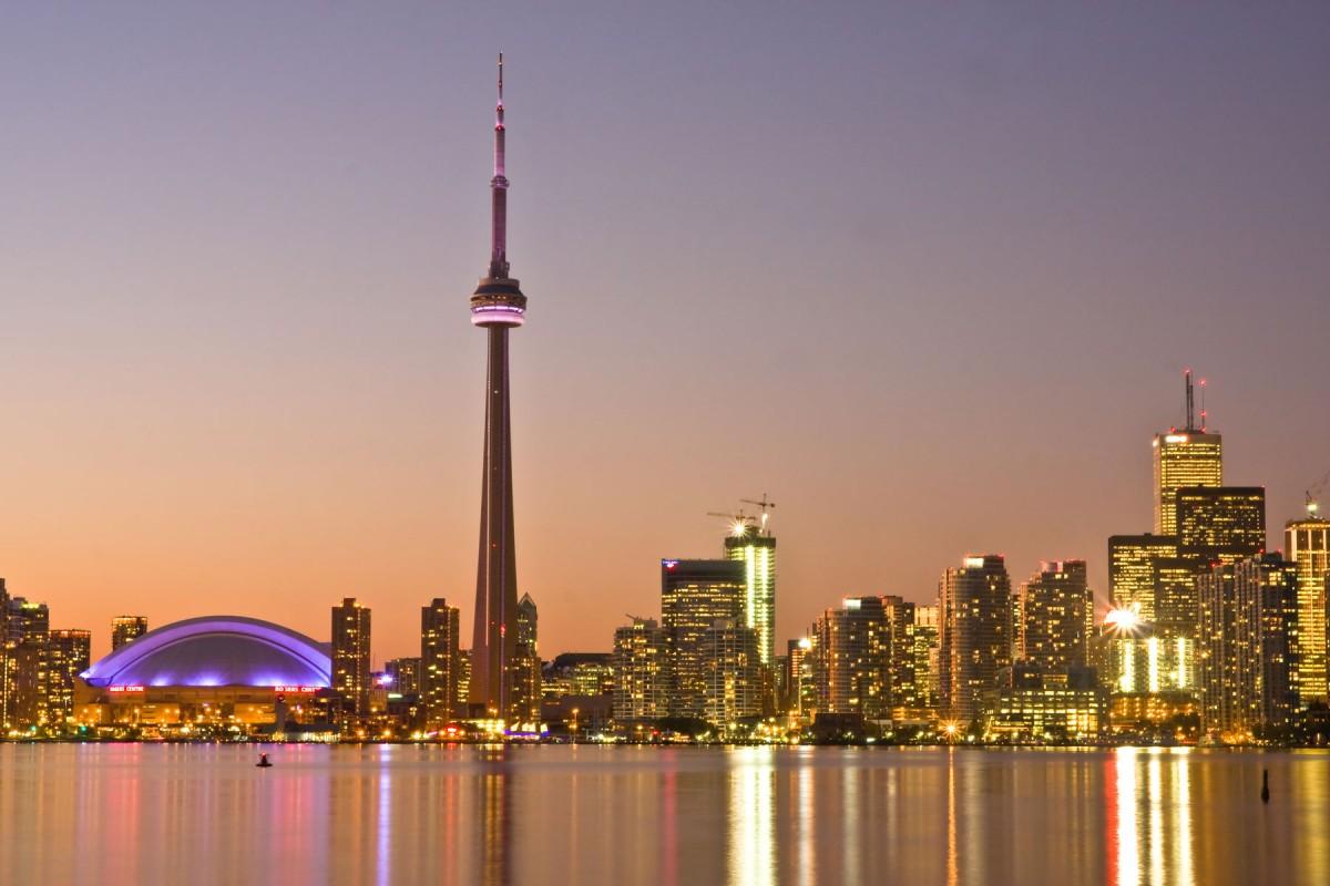Toronto at dusk.