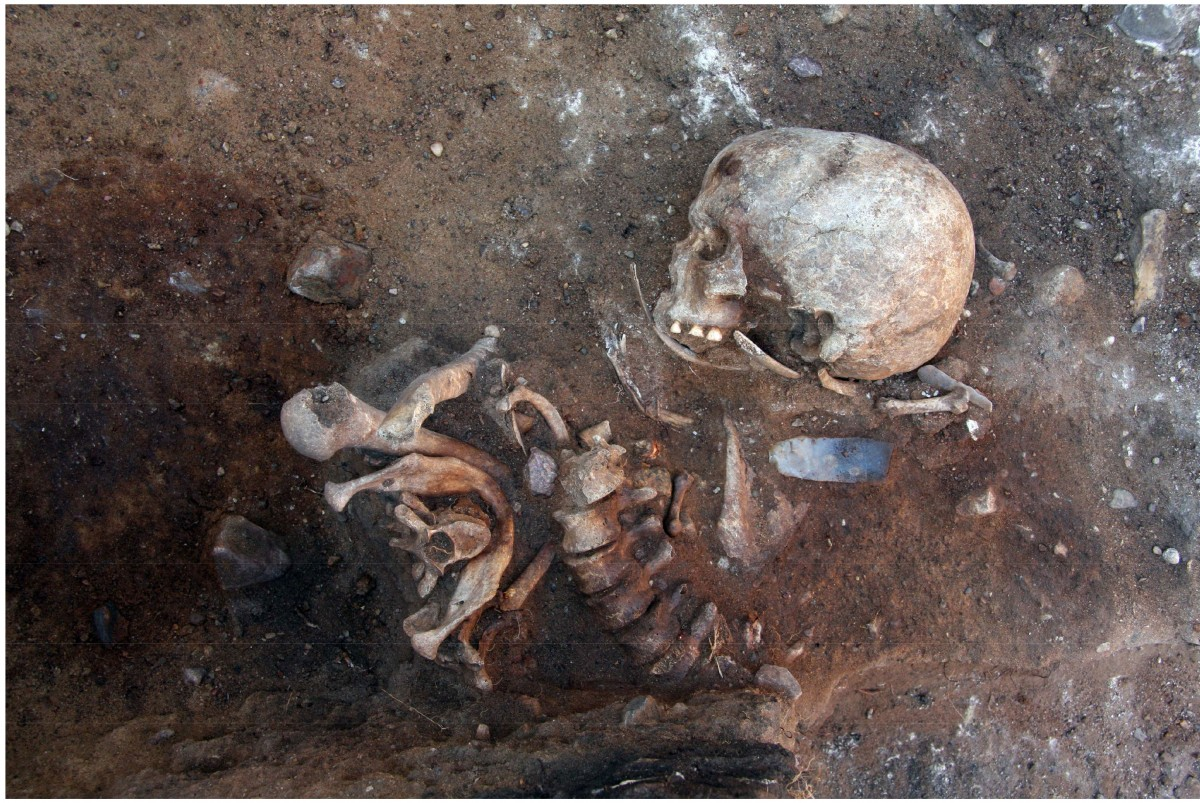 Next to the remains of the young man buried vertically a flint knife was found, probably grave goods. Photo Credit: A. Kotula/The History Blog.