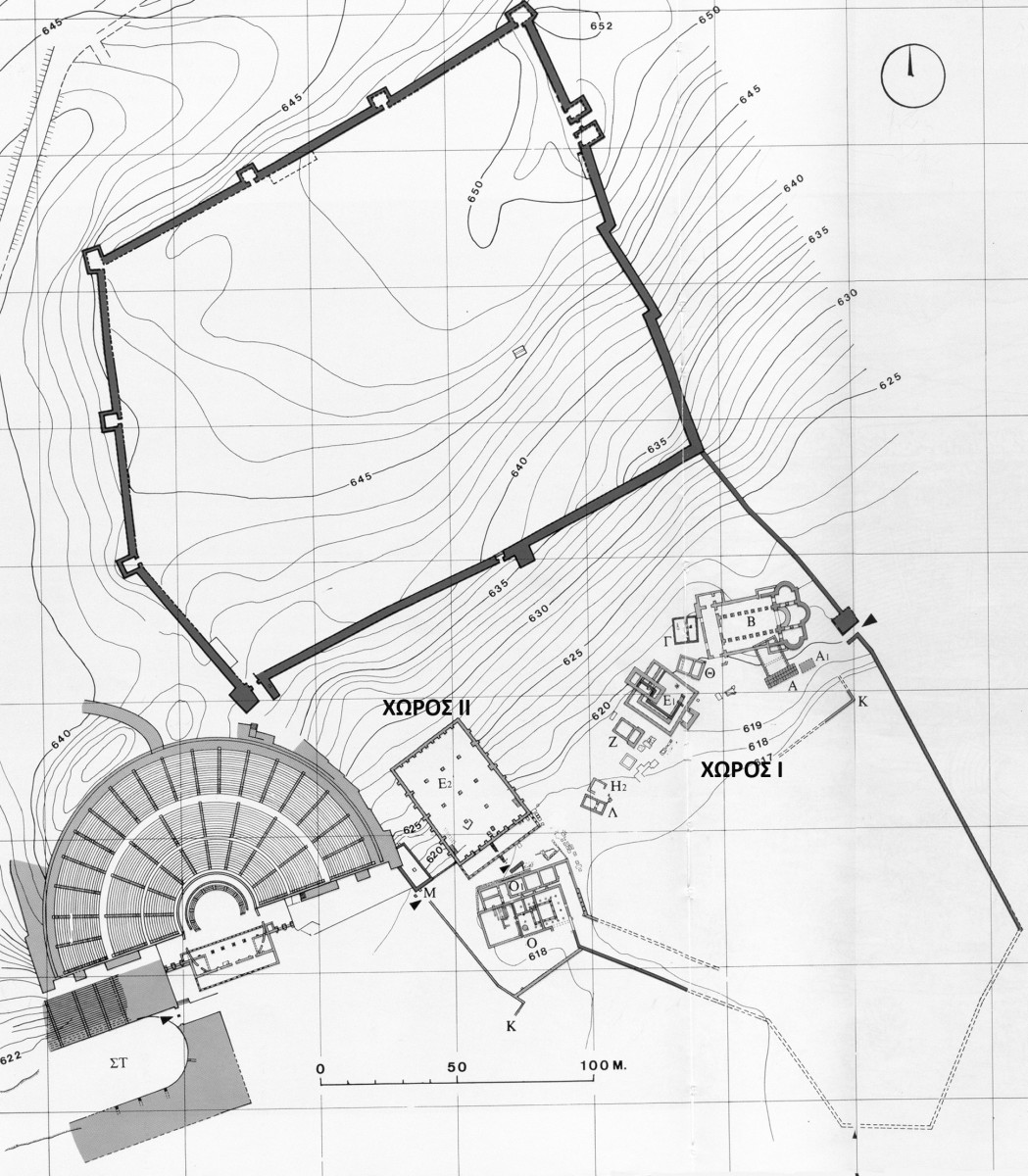 Fig. 10. Plan of the archaeological site of Dodoni marking areas I and II. (source: archives of the Ephorate of Antiquities, Ioannina)