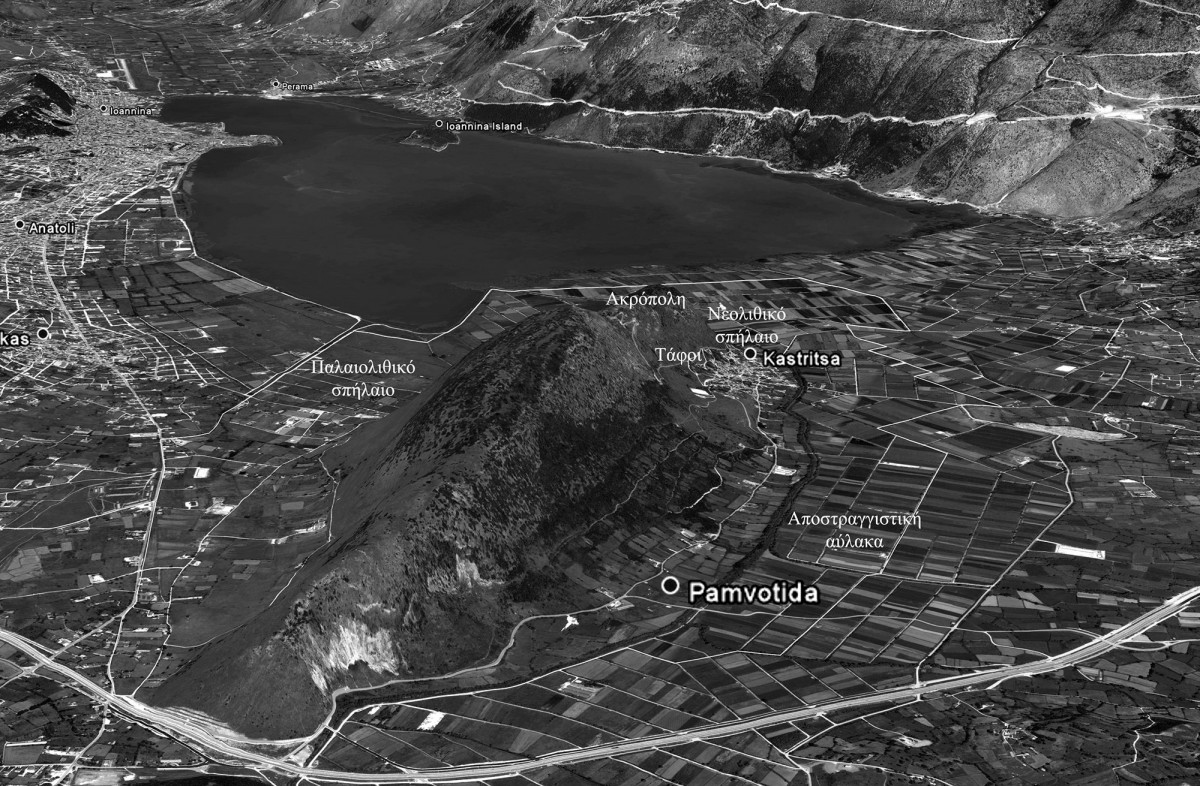 Fig. 11. Photograph of hill and surrounding area of Kastritsa marking the places where prehistoric objects were discovered. source: author's archive)