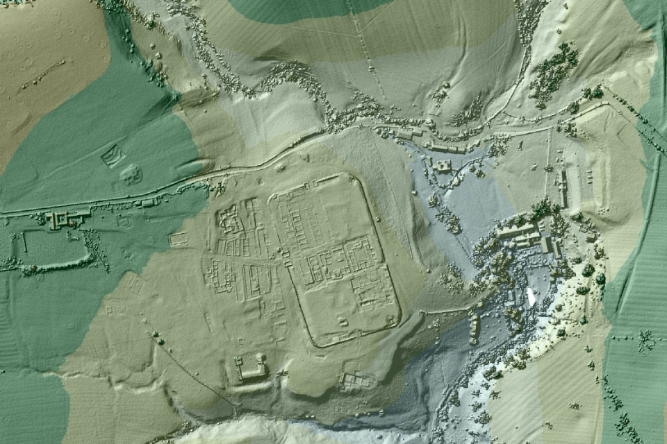 Vindolanda Roman fort imaged using LIDAR data. The Environment Agency uses LIDAR for flood modelling and monitoring coastlines but the data have proved a boon to archaeologists.