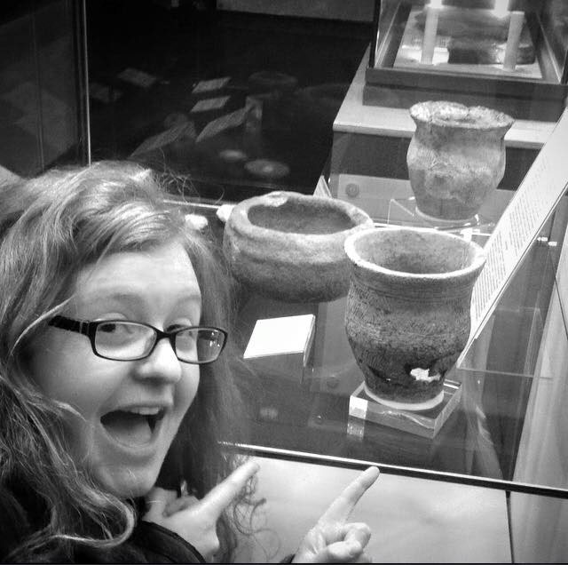 Maya Hoole visiting the Caithness Horizons Museum where the beaker is kept. Photo Credit: Maya Hoole.