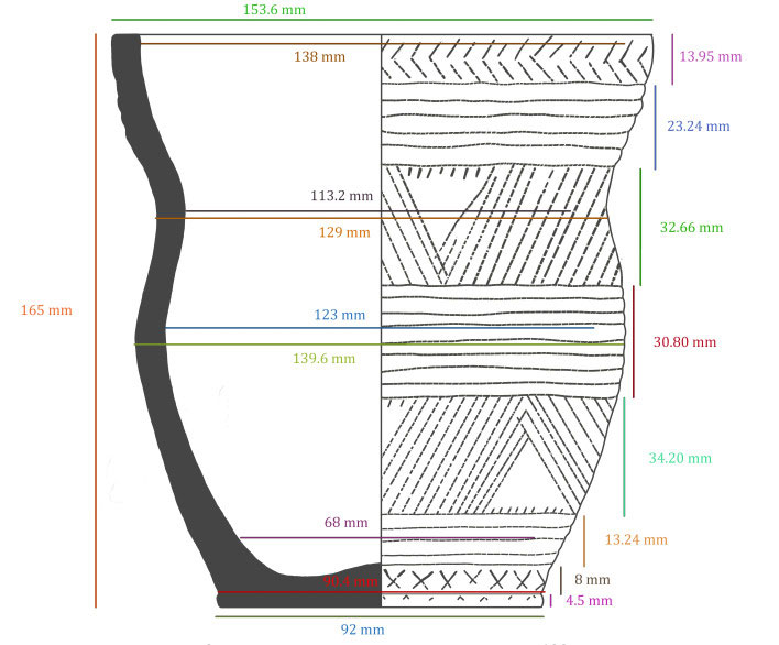 A sketch of the Beaker. The distinct patterns were created by three different tools. Image Credit: Maya Hoole.