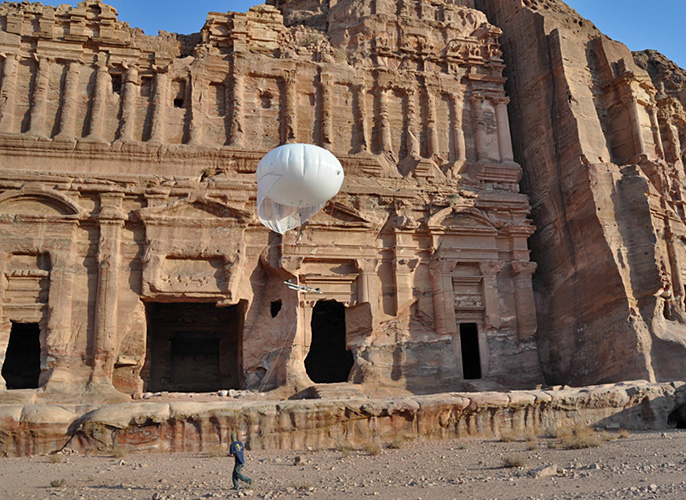 Thomas Levy's team capturing high-definition digital photographs of the Royal Tombs at Petra, Jordan, using a helium balloon system. Credit: Thomas Levy, UC San Diego.