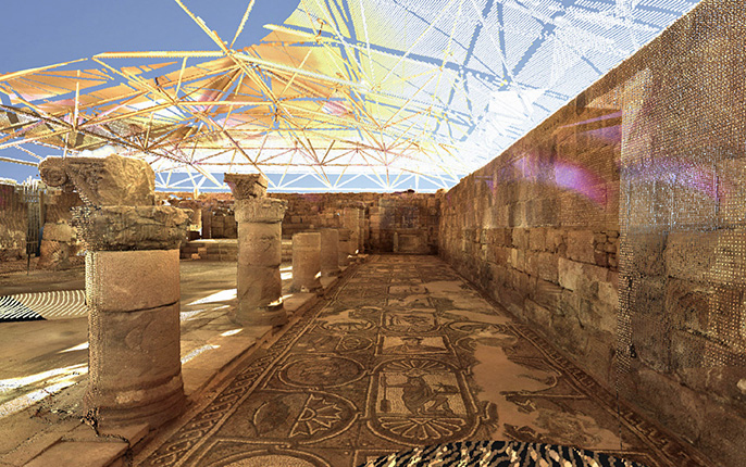 LiDAR point cloud depicting the mosaic floor on the south side of the Petra Church, visualized using Visicore, visualization software developed at Calit2/CISA3. Credit: Thomas Levy, UC San Diego