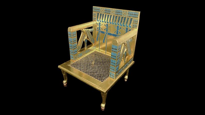 Reproduction of the throne found in Queen Hetepheres' tomb in 1925. Credit: Harvard Semitic Museum.