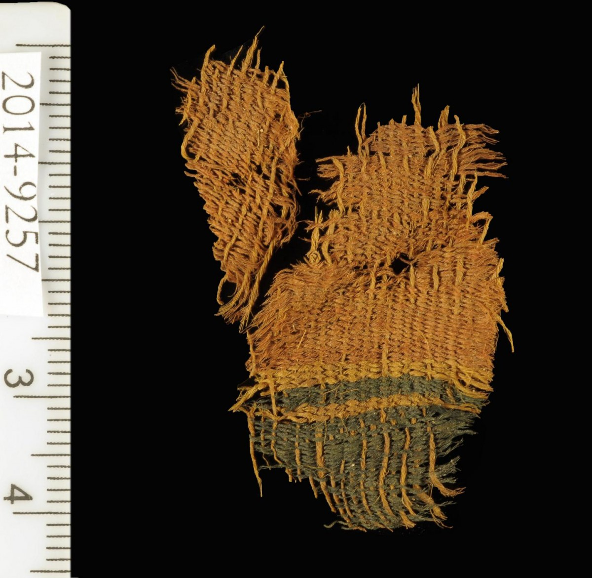 A fine wool textile dyed red and blue, found at Timna. The textile used the various colors of natural animal hair to create black and orange-brown colors for decorative bands. Credit: Clara Amit, courtesy of the Israel Antiquities Authority.