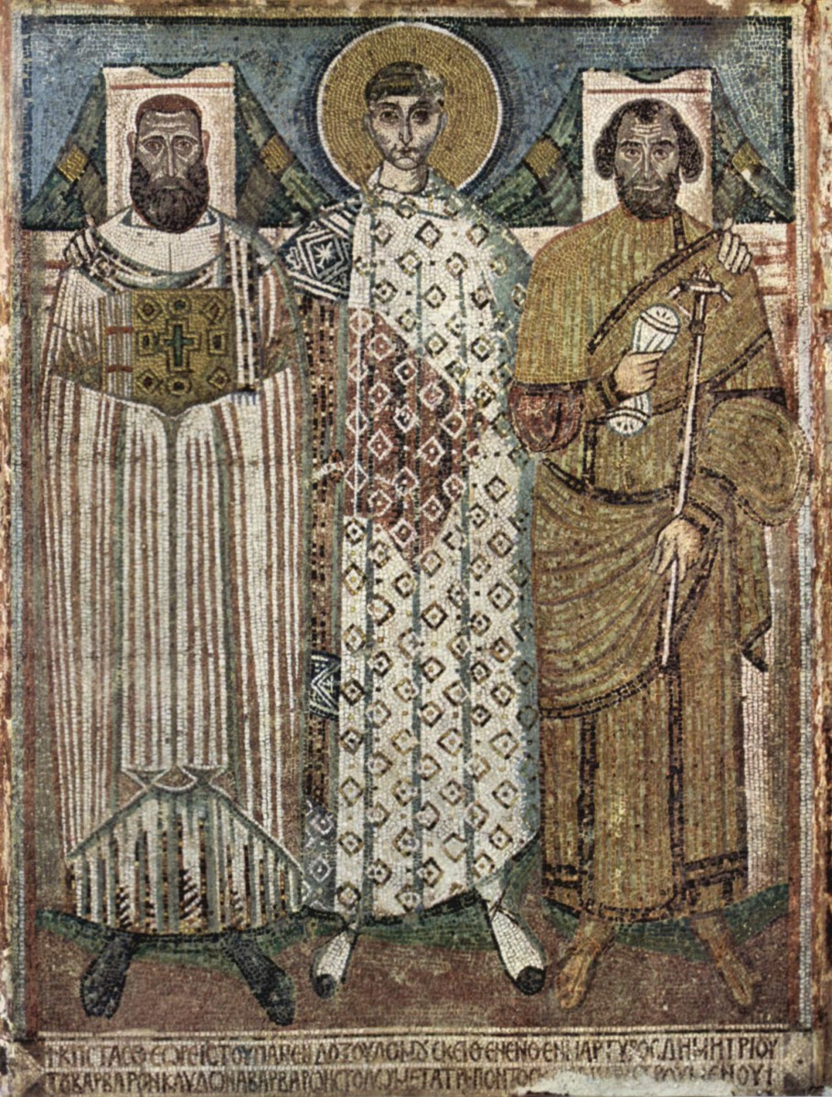 Fig. 10. Saint Demetrius and the founders (bishop and governor of Thessaloniki). Credit.: Wikipedia Commons.
