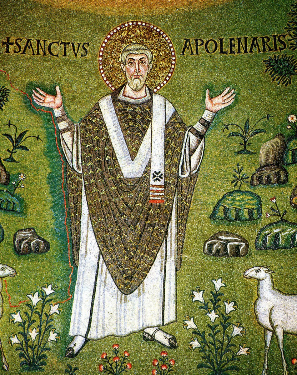 Fig. 2. Saint Apollinaris, first bishop of Ravenna. Detail from the 6th century Byzantine mosaic in the apse of the basilica of Sant'Apollinare in Classe. Credit.: Wikimedia Commons.