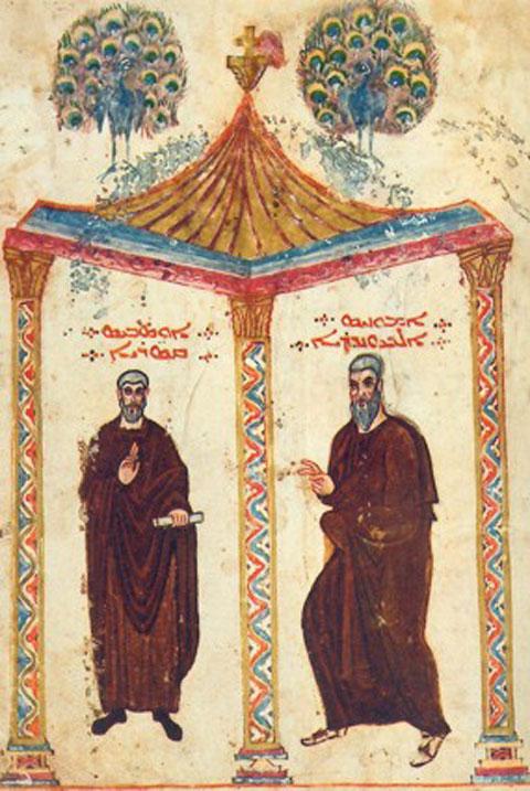 Fig. 7. The saints Eusebius of Caesarea and Ammonius of Alexandria, Rabbula Gospells, fol. 2a.