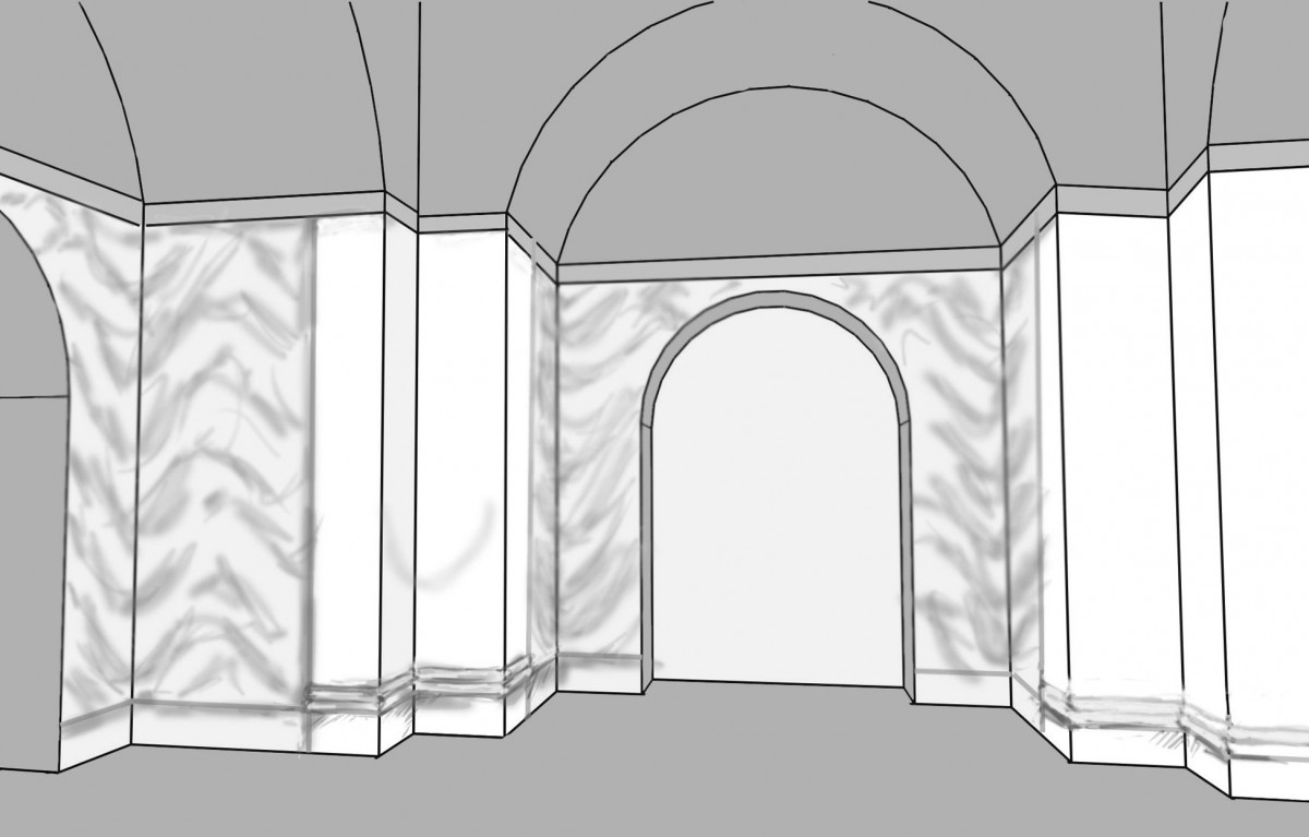 Fig. 8. Possible reconstruction of the lower part of the walls of the second phase of the interior decoration of the Cruciform Building in Old Dongola (drawing D. Zielińska) (Zielińska 2010a, fig. 13).