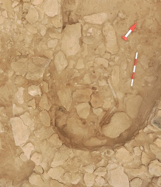 Aerial view of the human skeleton found in Room 2 at site MR11, Marawah Island. Photo Credit: Abu Dhabi TCA/The National UAE.