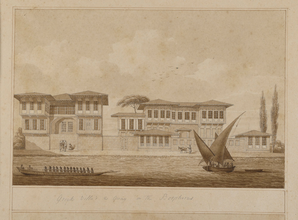 Thomas Hope, Greek waterfront villas or yalıs on the Bosporus and view of the Sultaniye valley on the Asian side Watercolours on paper Inv. no. 27338, 27339 v. V Benaki Museum.