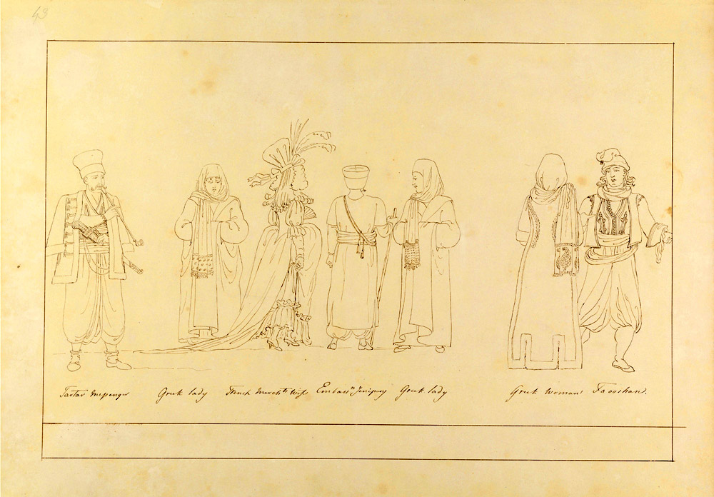 Thomas Hope, Various Costumes of Istanbul  Pen drawing on paper  Inv. No. 27112 v. I Benaki Museum.