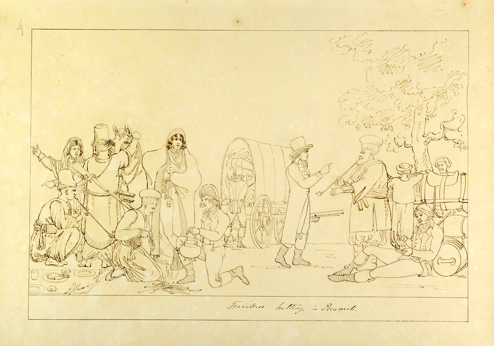 Thomas Hope, Travellers Resting on the Road in Roumeli Pen drawing on paper  Inv. no. 27056 v. I Benaki Museum.