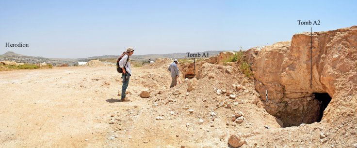 The opening to two of the tombs at the Khalet al-Jam'a necropolis near the town of Bethlehem. Photo Credit: ®ROSAPAJ - Sapienza University Rome/LiveScience.