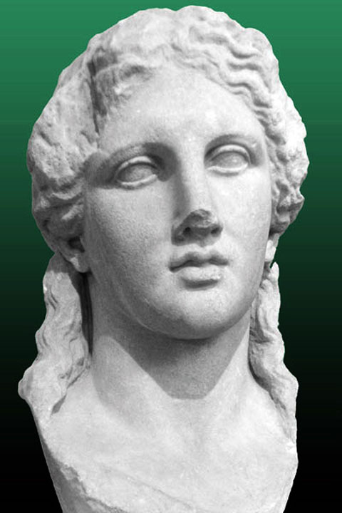 Fig. 22. Marble head of Dionysos at Thasos, Archaeological Museum.