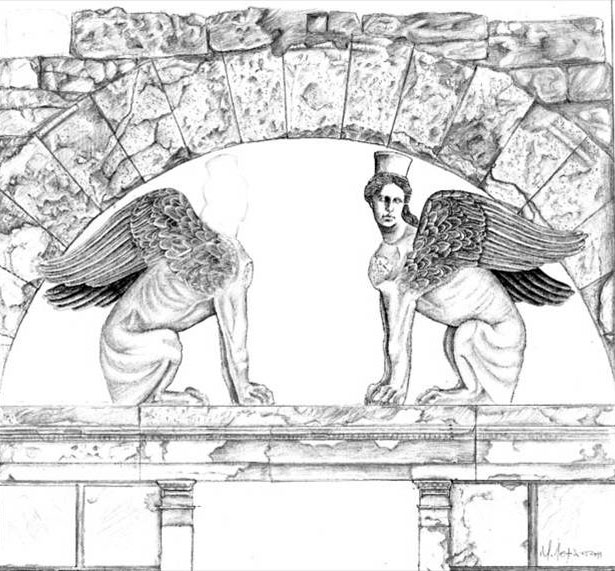 Fig. 6. The Sphinxes of the tumulus Kasta, reconstruction drawing by Lefantzis (courtesy of Dr. Lefantzis).