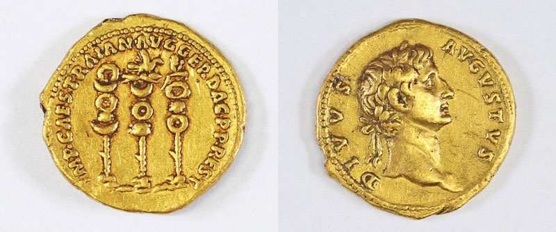 Symbols of the Roman legions next to the name of the ruler Trajan - Photo: Samuel Magal, courtesy Israel Antiquities Authority Portrait of the emperor
