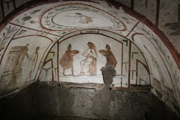 A detail from the restored frescoes of the catacombs of Marcellinus and Peter. Photo Credit: Alexey Gotovskiy/CNA.
