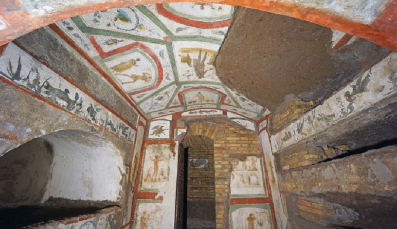 The restored frescoes of the catacombs of Marcellinus and Peter. Credit: Alexey Gotovskiy/CNA.