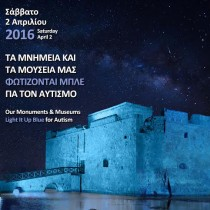 Monuments in Cyprus light up in blue