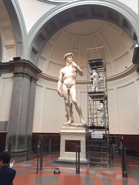 Michelangelo's David is regularly cleaned, every 2-3 months, for protection from pollution and the elementsl Photo Credit: Artnet News.