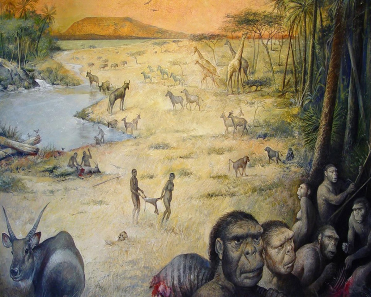 Artist's rendition of an early human habitat in East Africa 1.8 million years ago. Credit: M.Lopez-Herrera via The Olduvai Paleoanthropology and Paleoecology Project and Enrique Baquedano.