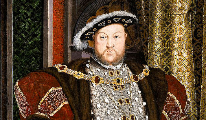 Detail of portrait of Henry VIII by the workshop of Hans Holbein the Younger. (Google Art Project)
