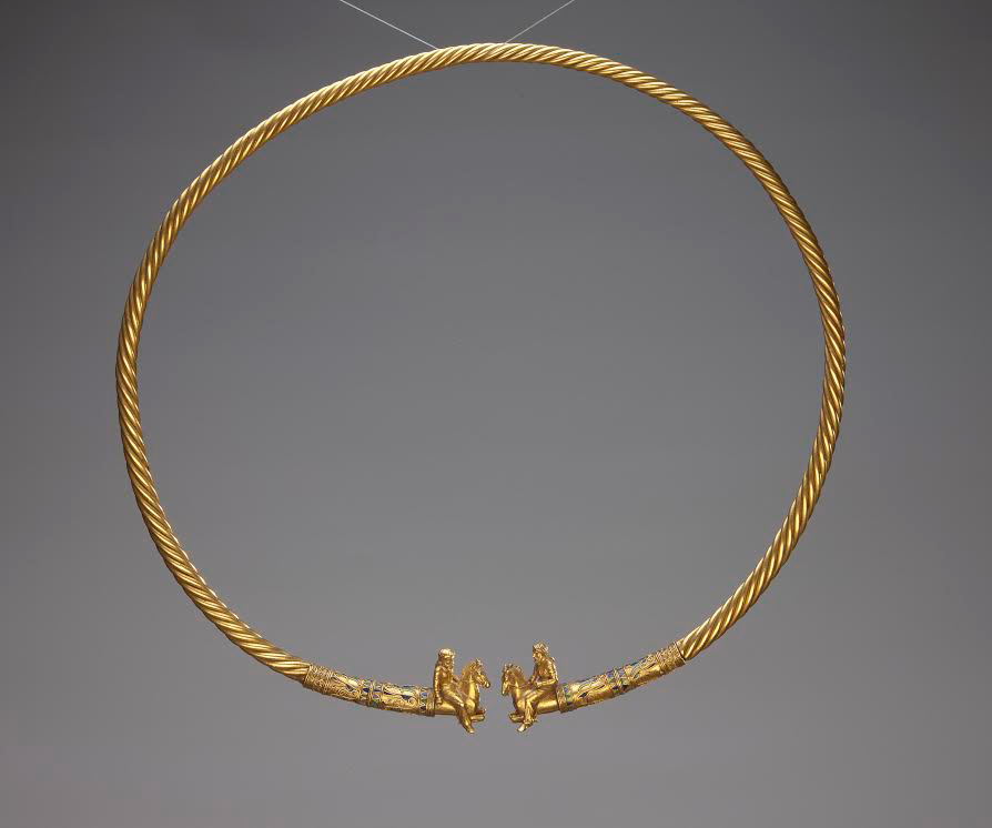 Golden necklace ending in Scythian riders. From the royal Kul Oba tumulus in Crimea. 4th c. BC.