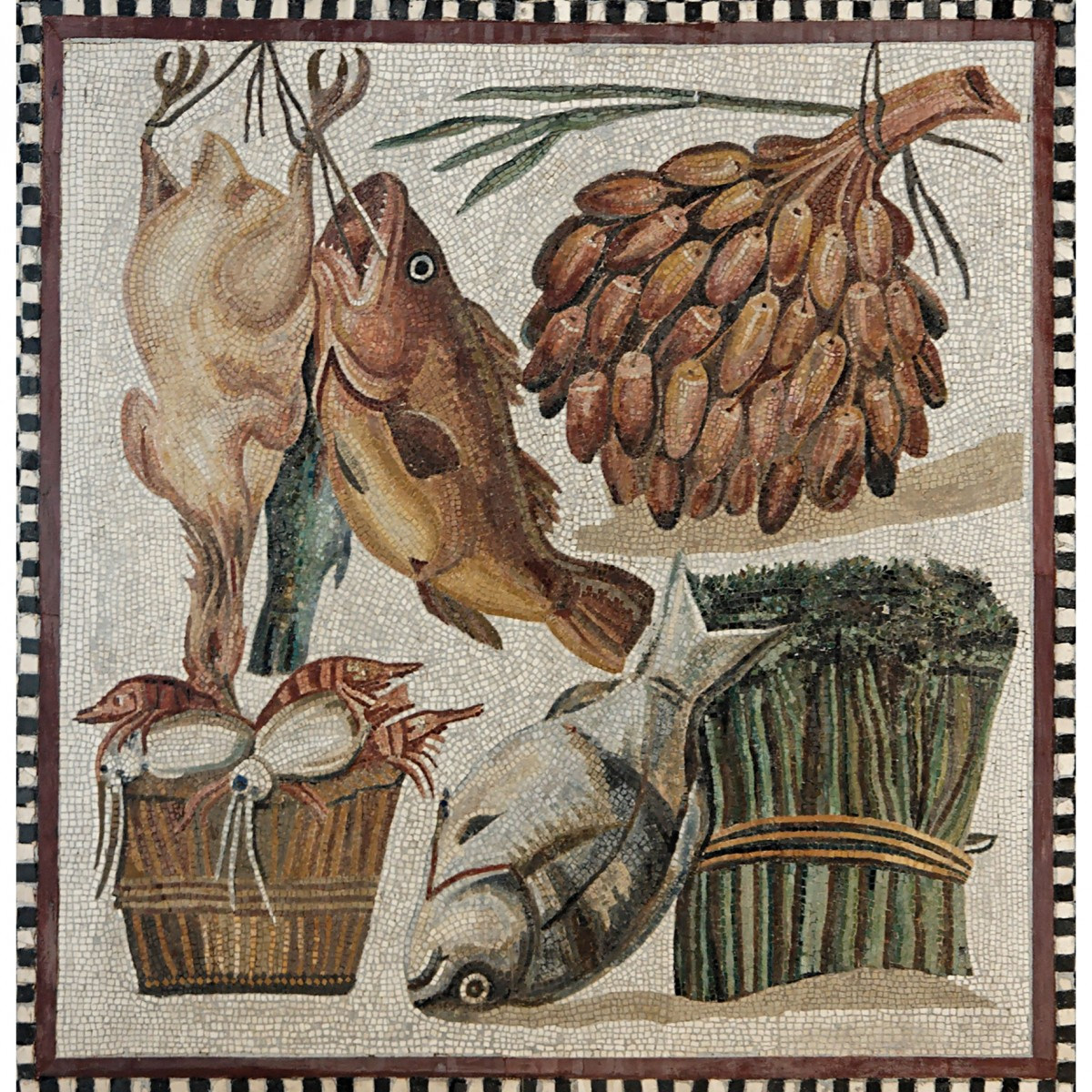 Fish and vegetables in a cupboard. Mosaic, 2nd c. AD, Tor Marancia, Rome