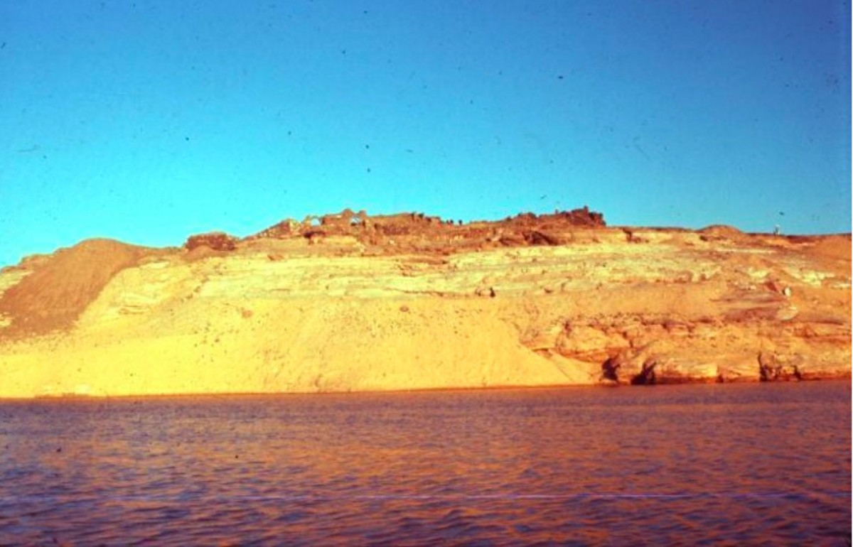 Fig. 7. Overview of the monastic site of Qasr el Wizz in Lower Nubia during the flooding of the area by the Aswan High Dam. Credit: Archives of The Oriental Institute of Chicago.