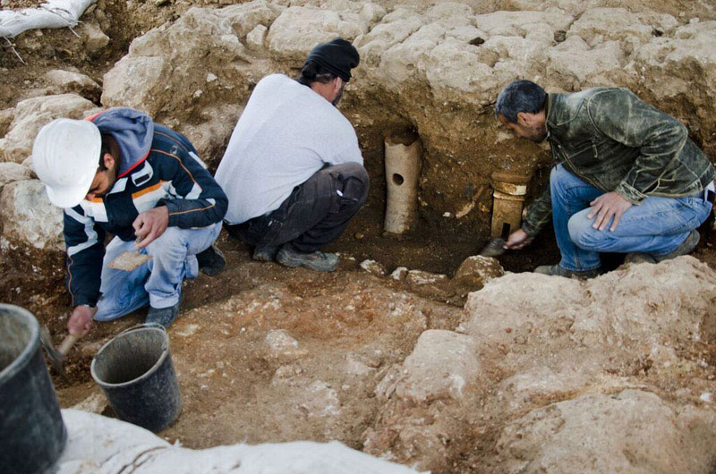 Terra cotta pipes indicate the existence of an ancient bathhouse . Credit: IAA/Archaeology News Network.