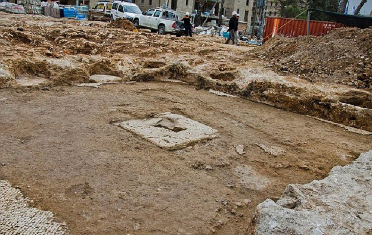 The buildings and pottery found at the site are some 1,600 years old and have  been dated to the Roman or Byzantine period. This image shows some  of the mosaic tiles that were on the wine press. Photo Credit: IAA/Archaeology News Network.