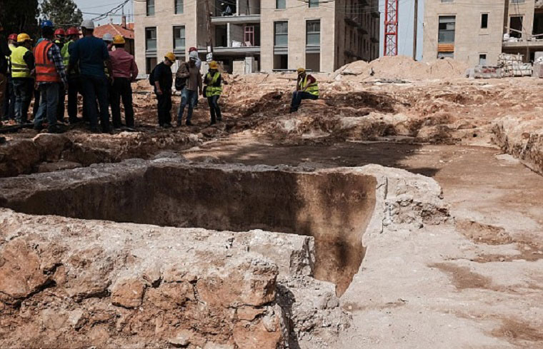 In the centre of the wine press is a pit in which a press screw was anchored that  aided in extracting the maximum amount of juice, or must, from the grapes. Credit: IAA/Archaeology News Network.