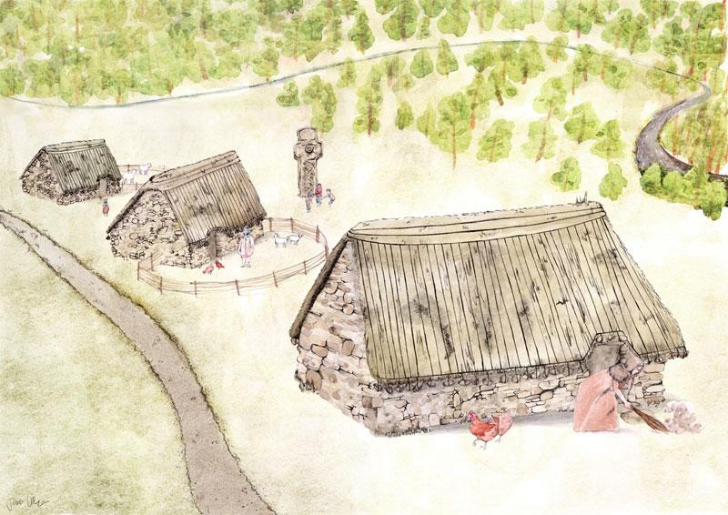 Reconstruction by Jennifer Colquhoun of medieval Netherton Cross and Cadzow Village © GUARD Archaeology Ltd