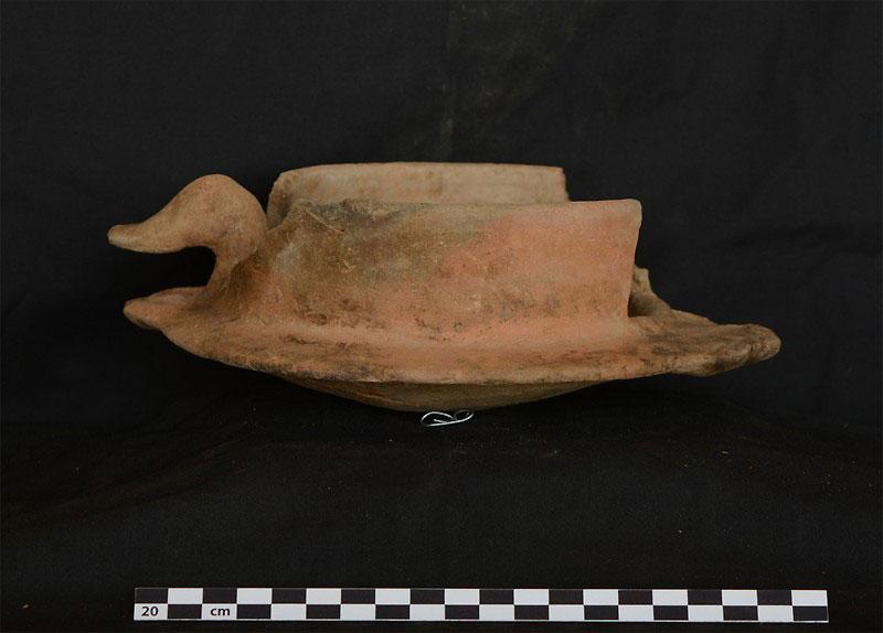 Clay censor  shaped as a duck., from Tombos. Image: UC Santa Barbara.